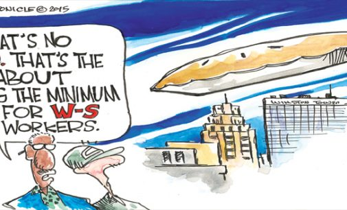 Editorial cartoon: Minimum wage increase for Winston-Salem city workers?