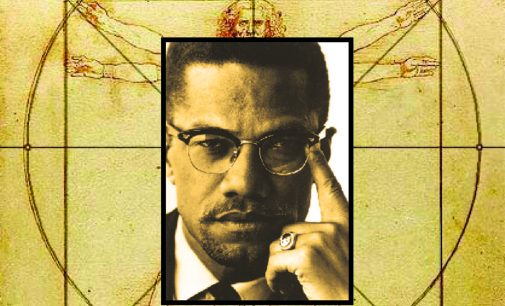 View Malcolm X as The Vitruvian Man at what would be his 90th birthday