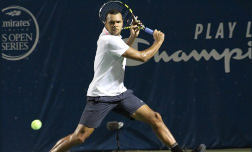 Jo-Wilfried Tsonga plays in Winston-Salem Open
