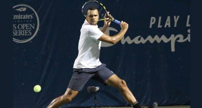 Jo-Wilfried Tsonga plays in Winston-Salem Open