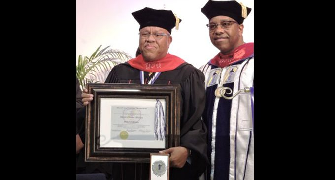 Pastor Dennis W. Bishop  receives honorary doctorate