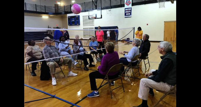 Chair volleyball exploding as seniors' newest sport