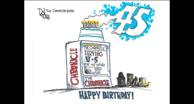 Editorial Cartoon: The Chronicle's 45th Birthday